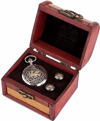 Pocket Watch & Cufflinks Trunk Set (Welsh Dragon)