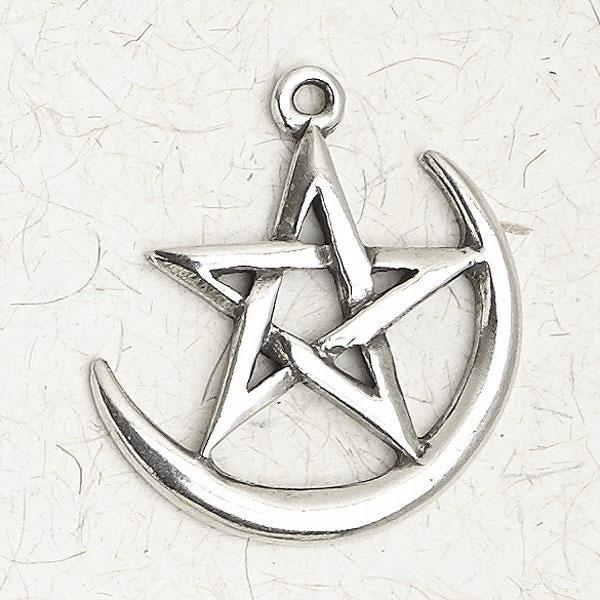 Crescent Moon Pentagram Necklace -- DragonSpace