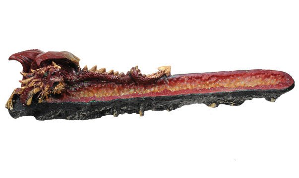 Red Geode Dragon Incense Holder