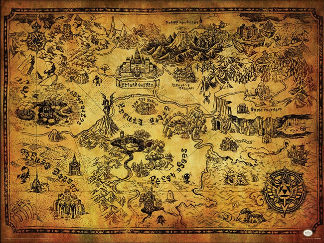 Legend of Zelda: Hyrule Map Poster