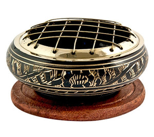 Brass Carved Charcoal Burner