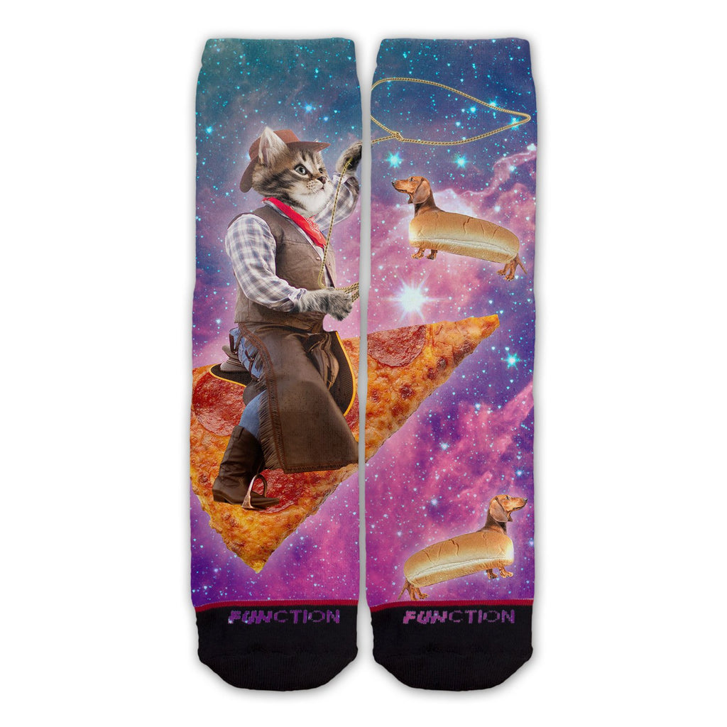 Function - Pizza Space Cowboy Cat Fashion Socks With Hot Dog Dachshunds Funny