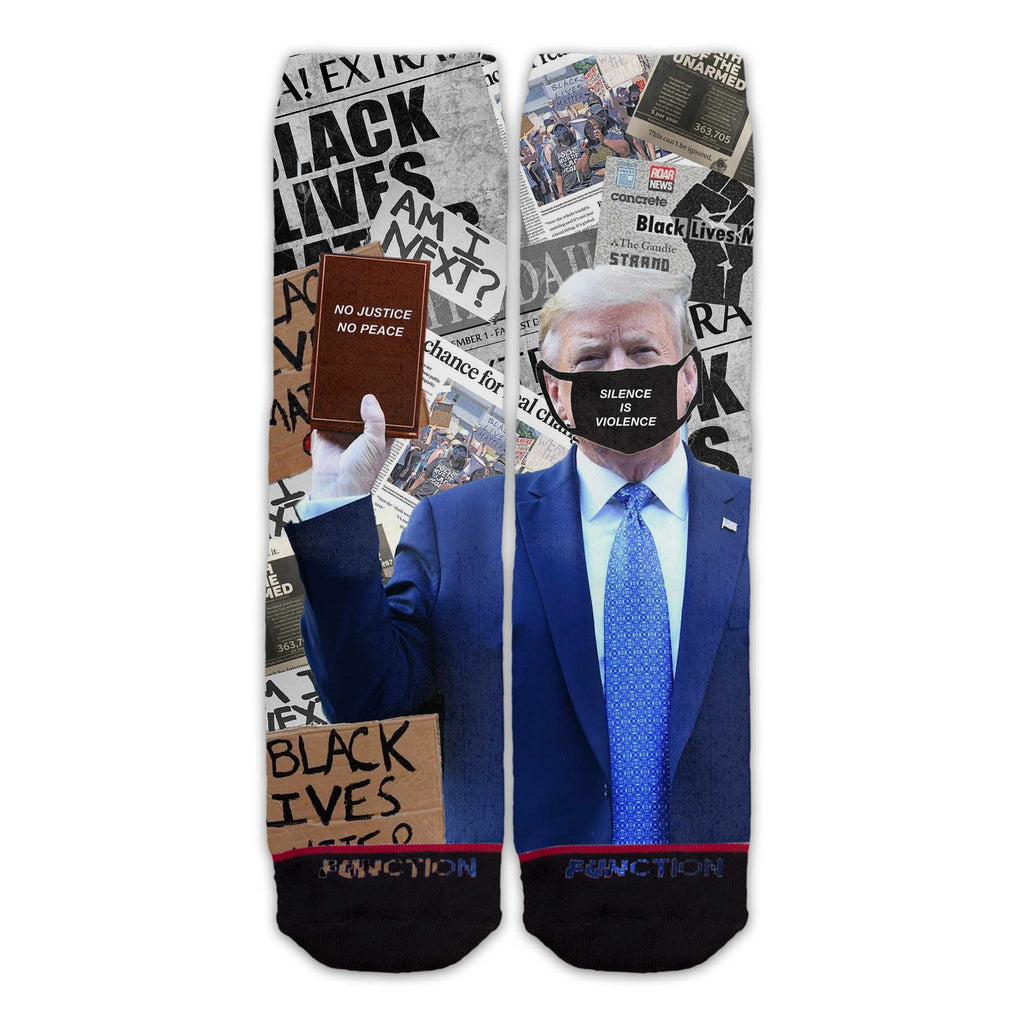 Function - Anti Donald Trump BLM Black Lives Matter No Justice No Peace Silence Is Violence Tall Crew Socks