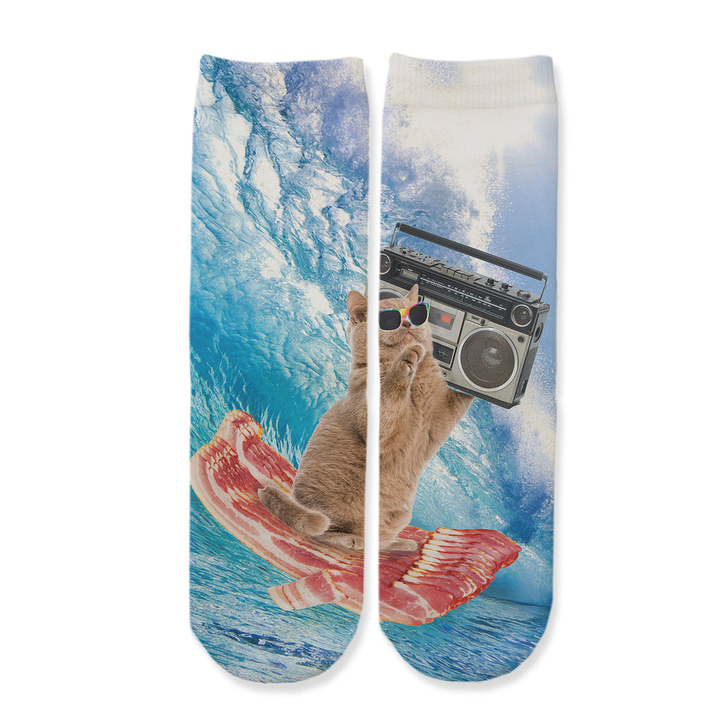 Function - Kids Bacon Surfing Cat Boombox Music Sunglasses Ocean Wave Youth Boys Girls Children Fashion Socks