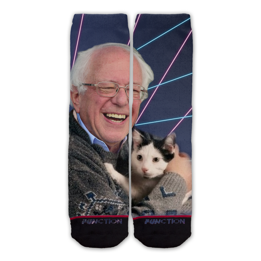 Function - Bernie Sanders Holding a Cat Fashion Socks Democrat Funny Vote