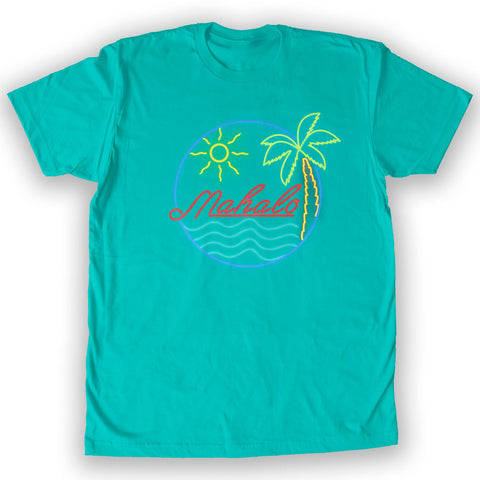 Function - Mahalo Neon Lights Men's Fashion T-Shirt Teal