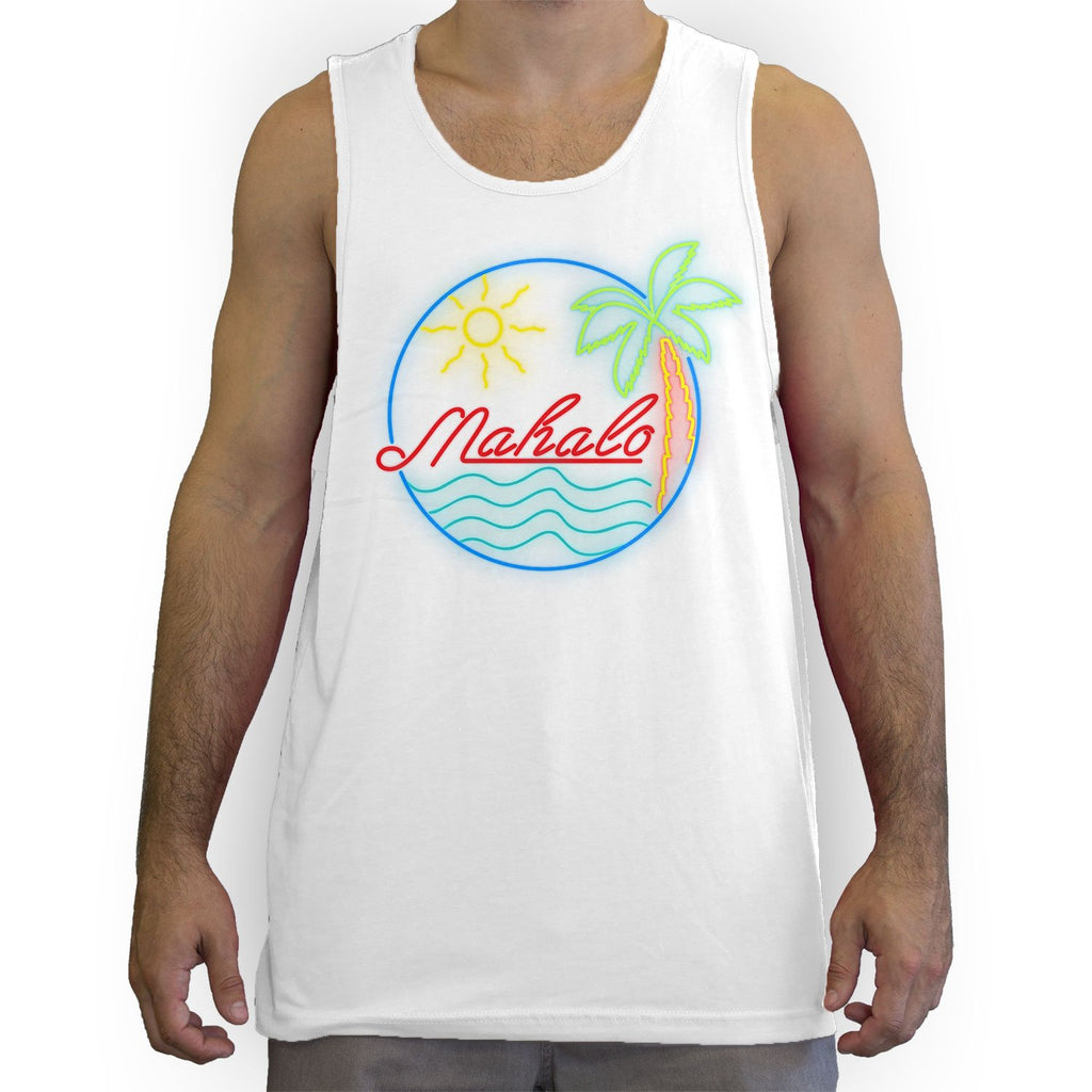 Function - Mahalo Neon Lights Men's Fashion Tank Top White