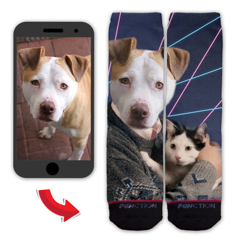 Function - Custom Animal Portrait With Cats and Lasers Fashion Socks
