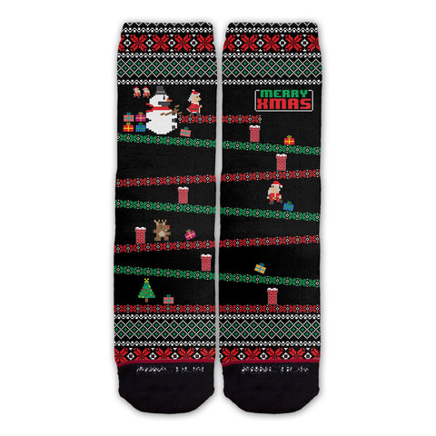 Function - 8-Bit Santa Arcade Ugly Christmas Sweater Black Fashion Sock