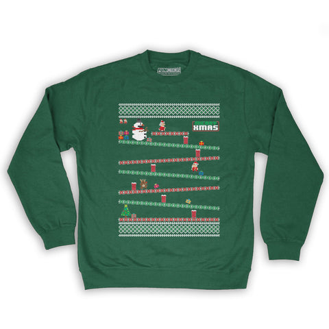 Function -  8-Bit Santa Arcade Ugly Christmas Sweater Men's Fashion Crew Neck Sweatshirt Dark Green