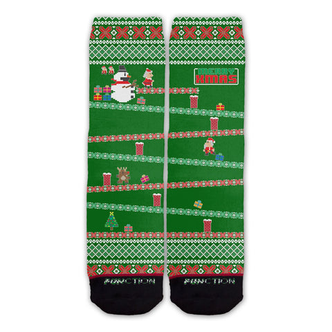 Function - 8-Bit Santa Arcade Ugly Christmas Sweater Green Fashion Sock