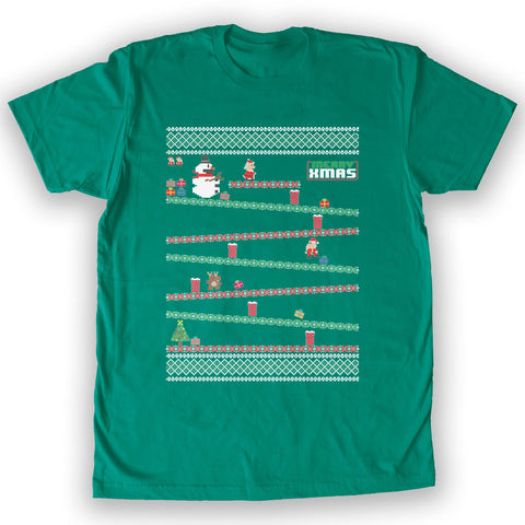 Function -  8-Bit Santa Arcade Ugly Christmas Sweater Men's Fashion T-Shirt Kelly Green