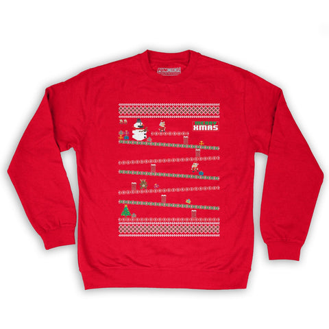 Function -  8-Bit Santa Arcade Ugly Christmas Sweater Men's Fashion Crew Neck Sweatshirt Red
