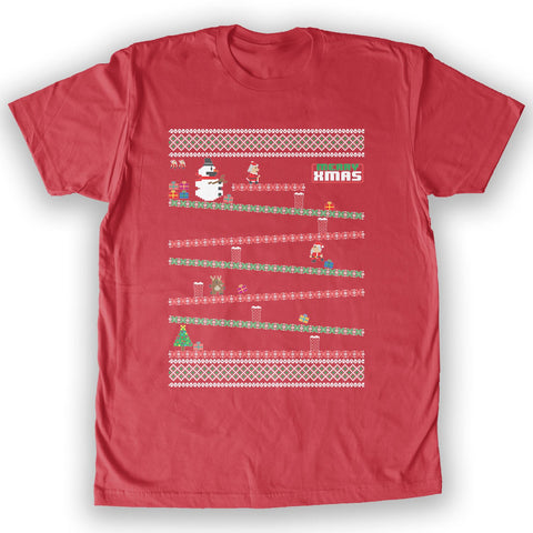 Function -  8-Bit Santa Arcade Ugly Christmas Sweater Men's Fashion T-Shirt Red