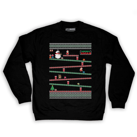 Function -  8-Bit Santa Arcade Ugly Christmas Sweater Men's Fashion Crew Neck Sweatshirt Black