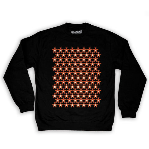 Function -  8-Bit Reindeer Pattern Men's Fashion Crew Neck Sweatshirt Black