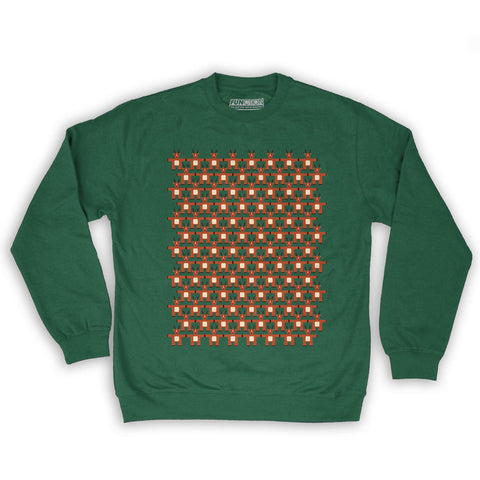 Function -  8-Bit Reindeer Pattern Men's Fashion Crew Neck Sweatshirt Dark Green