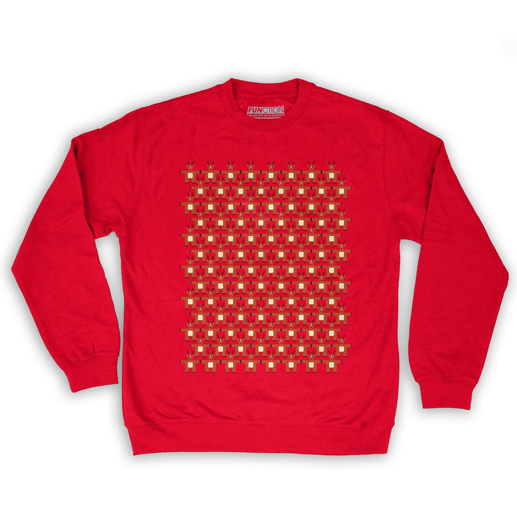 Function -  8-Bit Reindeer Pattern Men's Fashion Crew Neck Sweatshirt Red