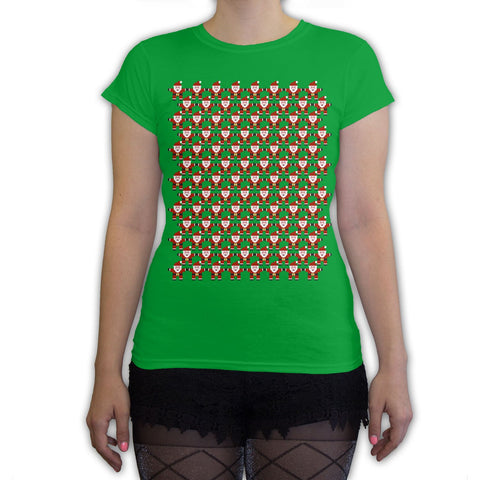 Function -  8-Bit Santa Pattern Women's Fashion T-Shirt Kelly Green