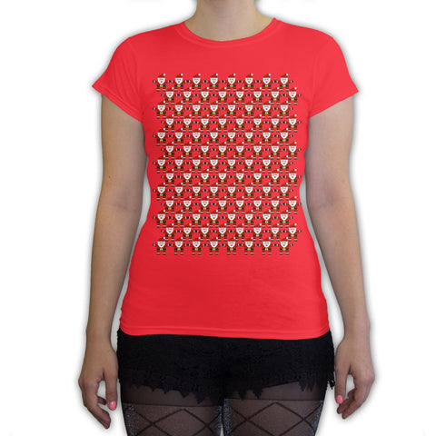Function -  8-Bit Santa Pattern Women's Fashion T-Shirt Red
