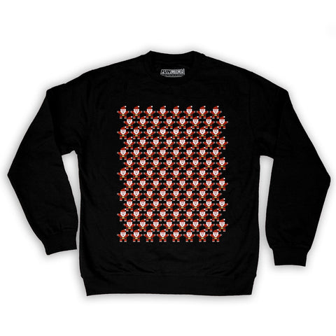 Function -  8-Bit Santa Pattern Men's Fashion Crew Neck Sweatshirt Black