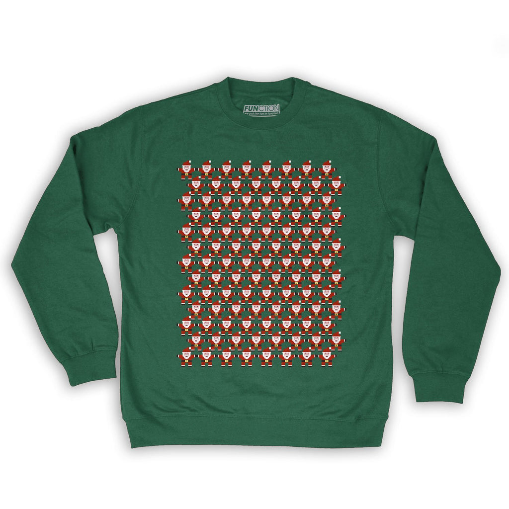 Function -  8-Bit Santa Pattern Men's Fashion Crew Neck Sweatshirt Dark Green