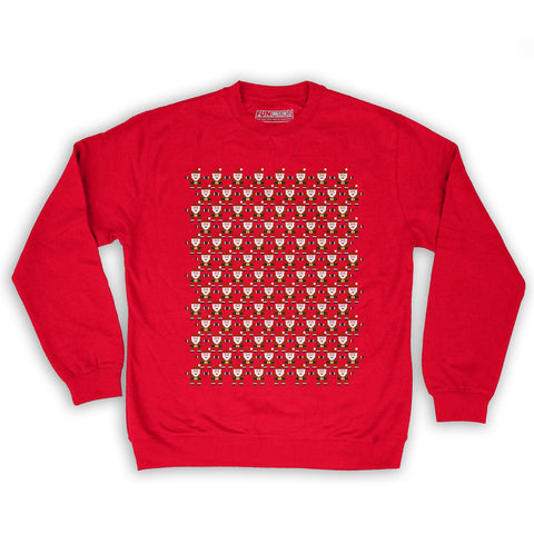 Function -  8-Bit Santa Pattern Men's Fashion Crew Neck Sweatshirt Red