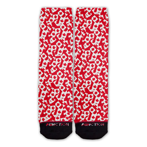 Function - Canadian Flag Repeating Pattern Fashion Sock