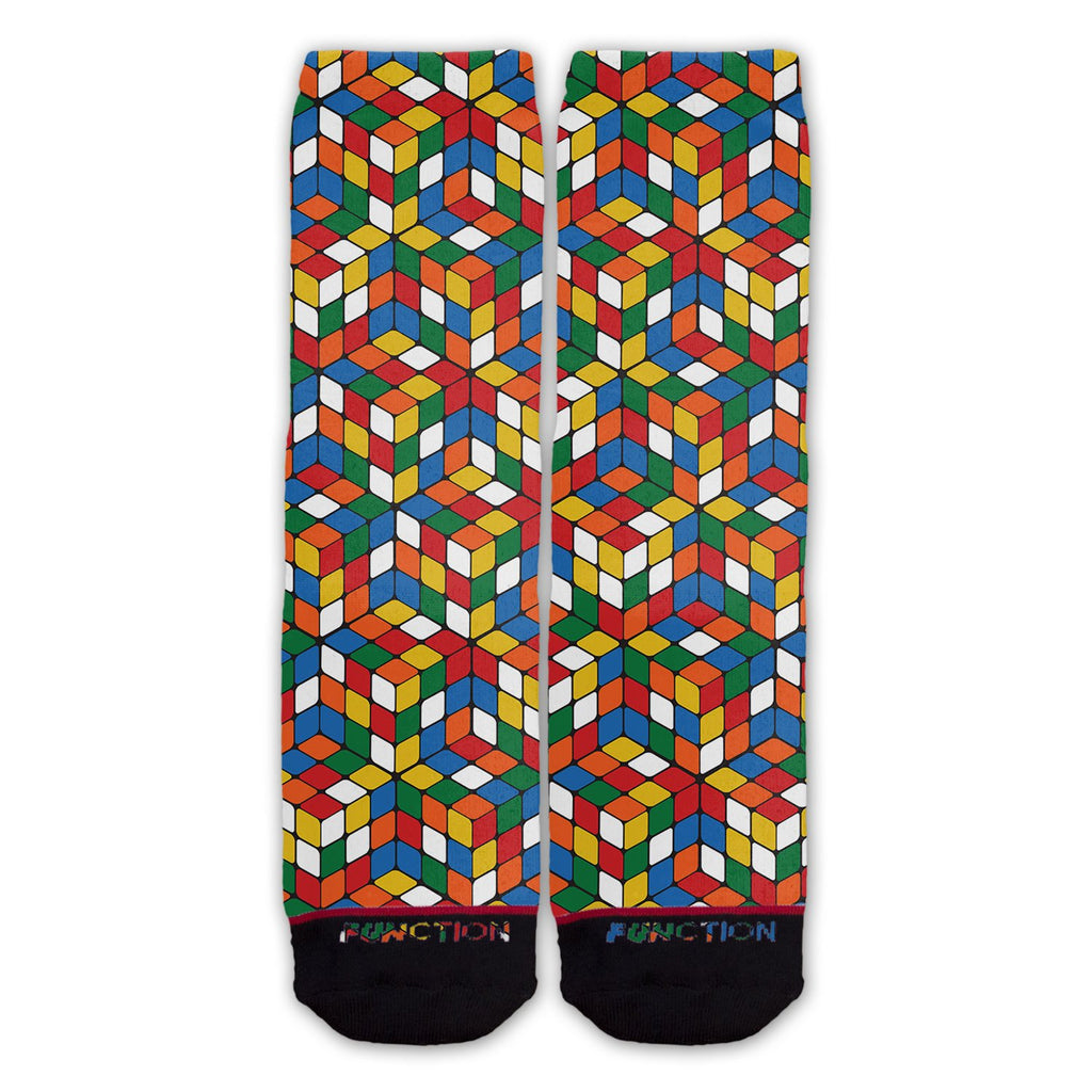 Function - Cube Puzzle Game Pattern Fashion Socks
