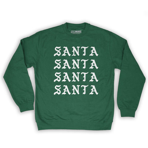 Function -  I Feel Like Santa Repeating Men's Fashion Crew Neck Sweatshirt Dark Green