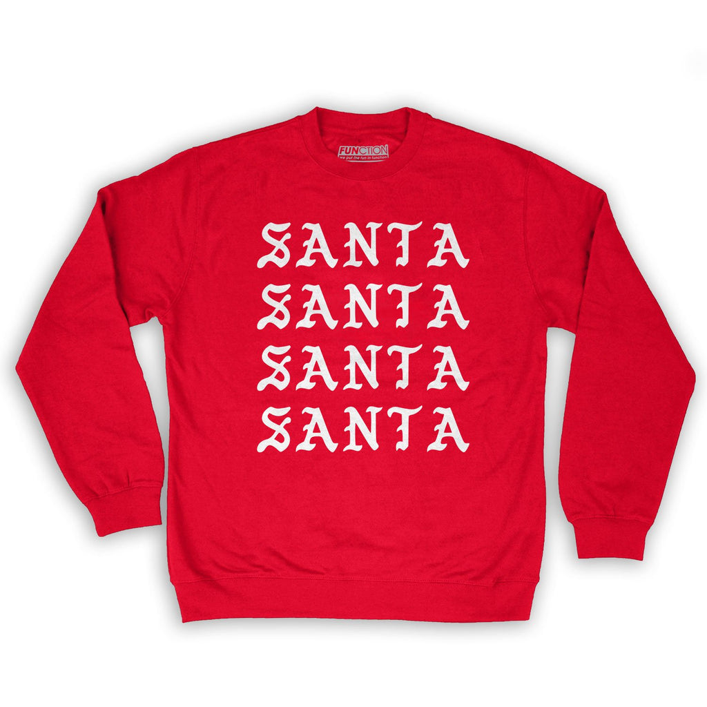 Function -  I Feel Like Santa Repeating Men's Fashion Crew Neck Sweatshirt Red