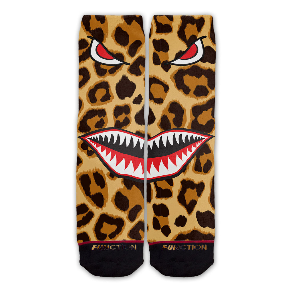 Function - Leopard Print Shark Mouth Fashion Socks