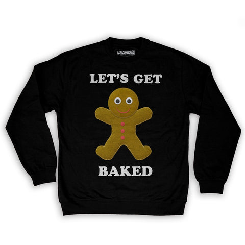 Function -  Let's Get Baked Ugly Christmas Men's Fashion Crew Neck Sweatshirt