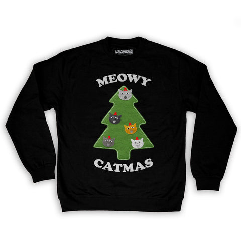 Function -  Ugly Christmas Meowy Christmas Men's Fashion Crew Neck Sweatshirt