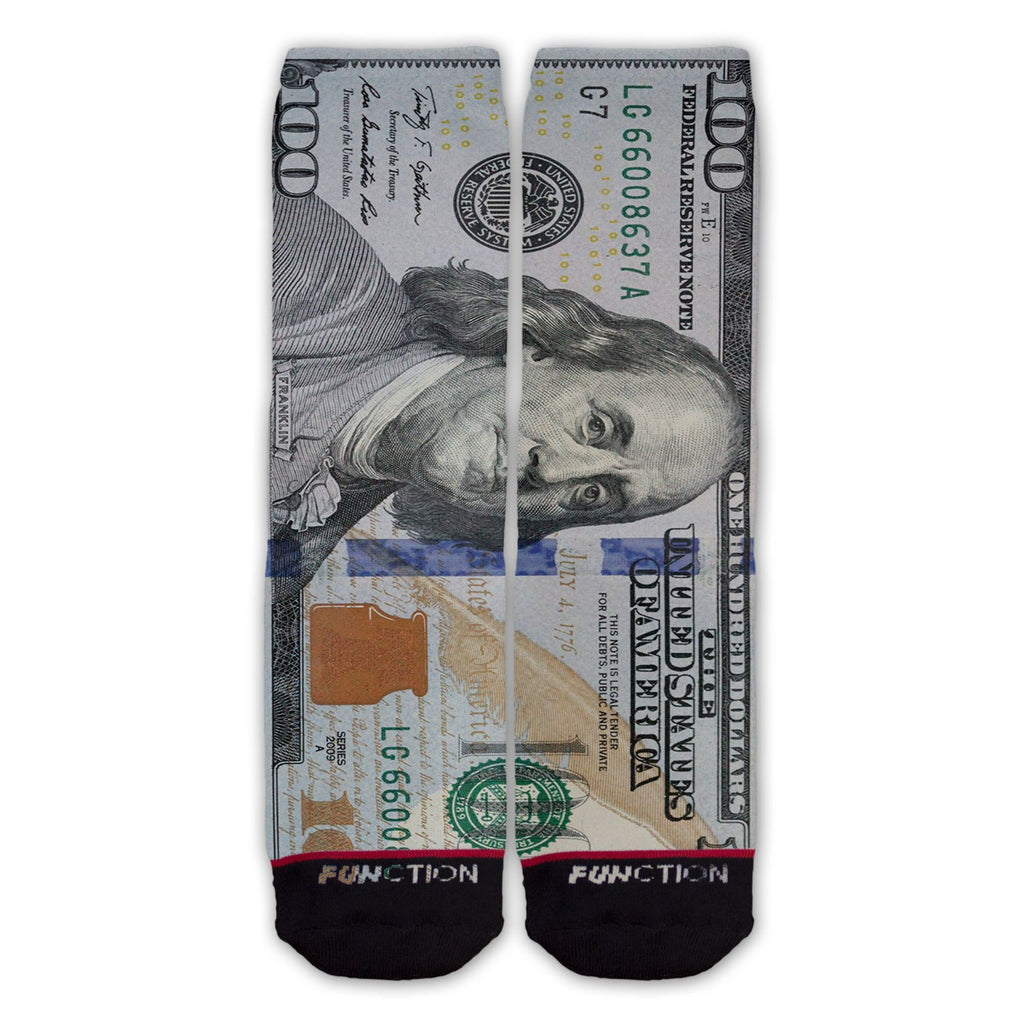 Function - New Money 100 Dollar Bill Fashion Socks