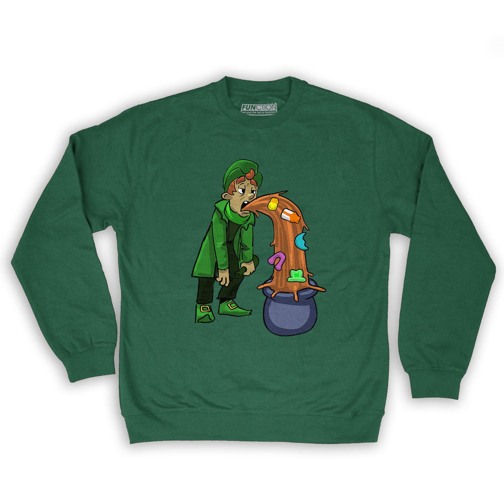 Function - St. Patrick's Day Puking Leprechaun Men's Fashion Crew Neck Sweatshirt Dark Green