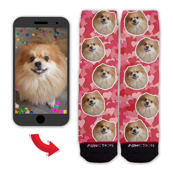Function - Custom Valentine's Day -  Dog Face Fashion Socks