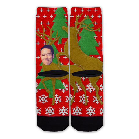 Function - Custom Face Humping Reindeers Christmas Fashion Socks