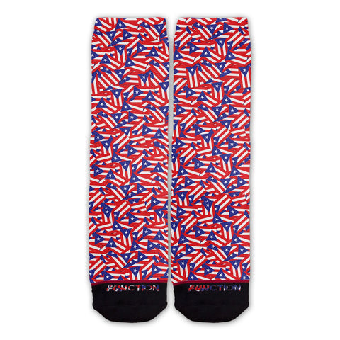 Function - Puerto Rican Flag Repeating Pattern Fashion Sock