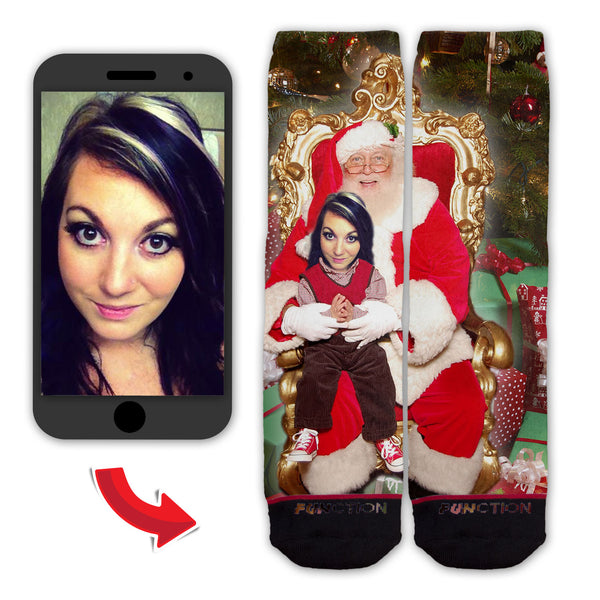 Function - Custom Christmas Sitting On Santa's Lap Funny Novelty Socks