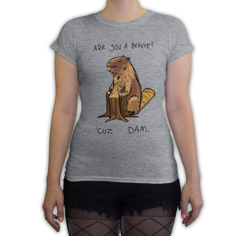Function - Are You A Beaver Women's Fashion T-Shirt Heather Grey