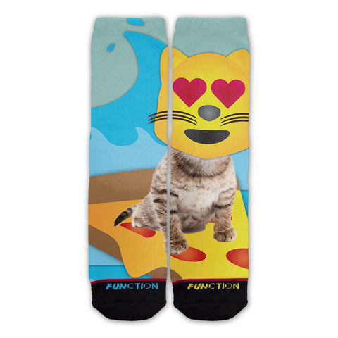 Function - Emoji Cat Surfing Fashion Sock
