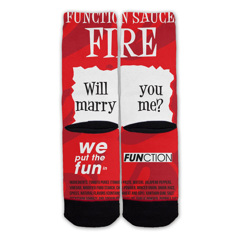 Fire Sauce Will You Marry Me Fashion Socks Back