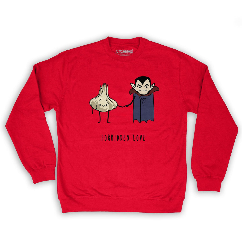 Function -  Vampire Garlic Forbidden Love Men's Fashion Crew Neck Sweatshirt Red