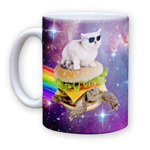 Function - Galaxy Cat Surfing Turtle Burger 11 oz Coffee Mug