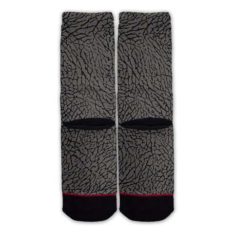 Grey Elephant Skin Fashion Socks Back