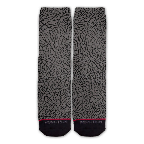 Function - Grey Elephant Skin Fashion Socks