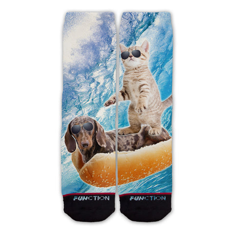 Function - Hot Dog Surfing Cat Fashion Socks