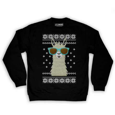 Function -  Ugly Christmas Faux Felt Llama Men's Fashion Crew Neck Sweatshirt