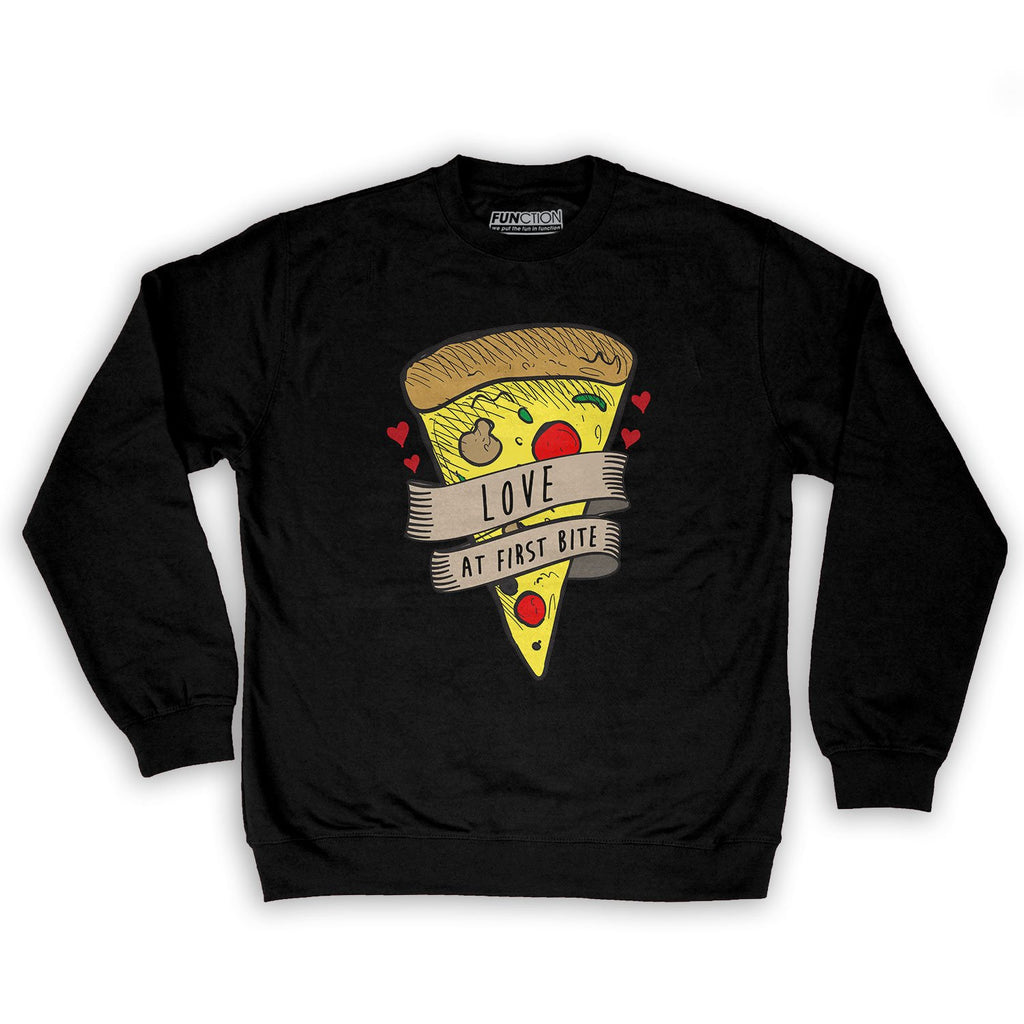 Function -  Valentine's Day Love At First Bite Men's Fashion Crew Neck Sweatshirt Black